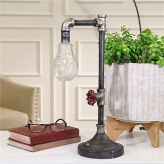 Metal Pipe Table Lamp With Stringed Led - Casa Muebles
