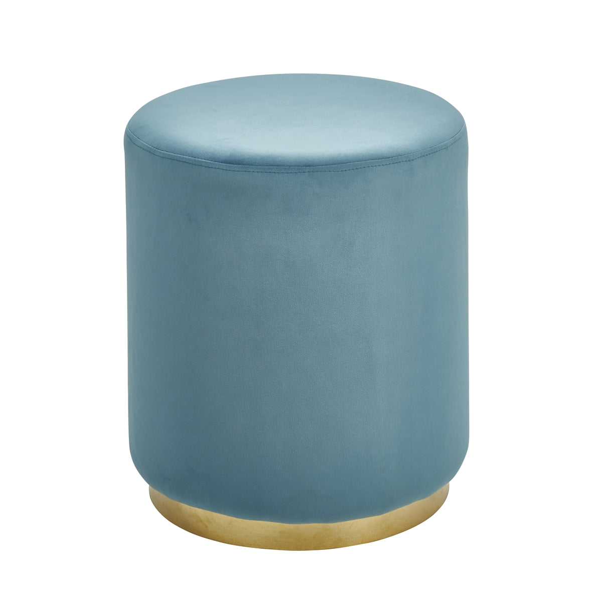 Velveteen Stool, Gold & Teal - Casa Muebles