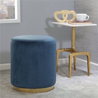 Velveteen Stool, Gold And Blue - Casa Muebles
