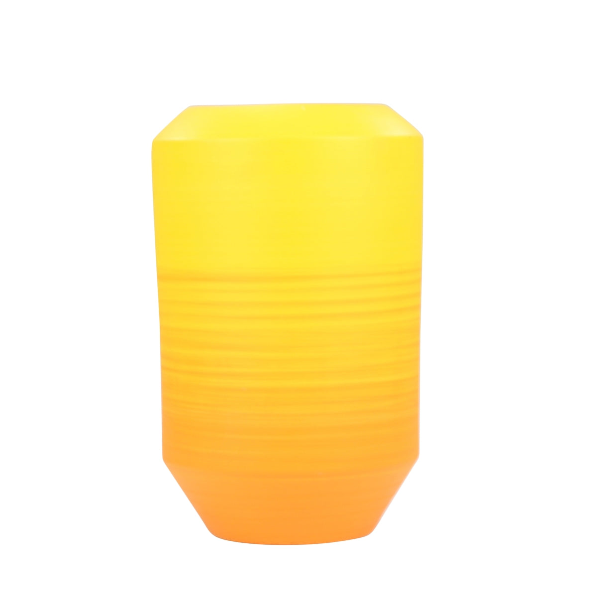 "Ceramic 13.75"" Yellow & Orange Ombre Vase - Casa Muebles"