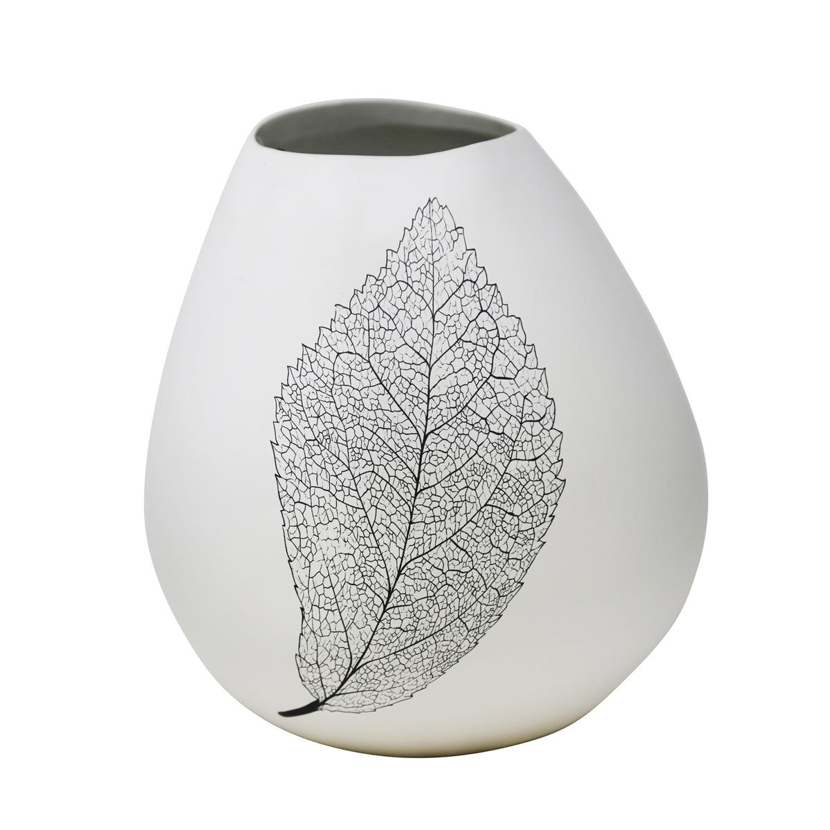 "White 10"" Bulb Vase With Leaf - Casa Muebles"