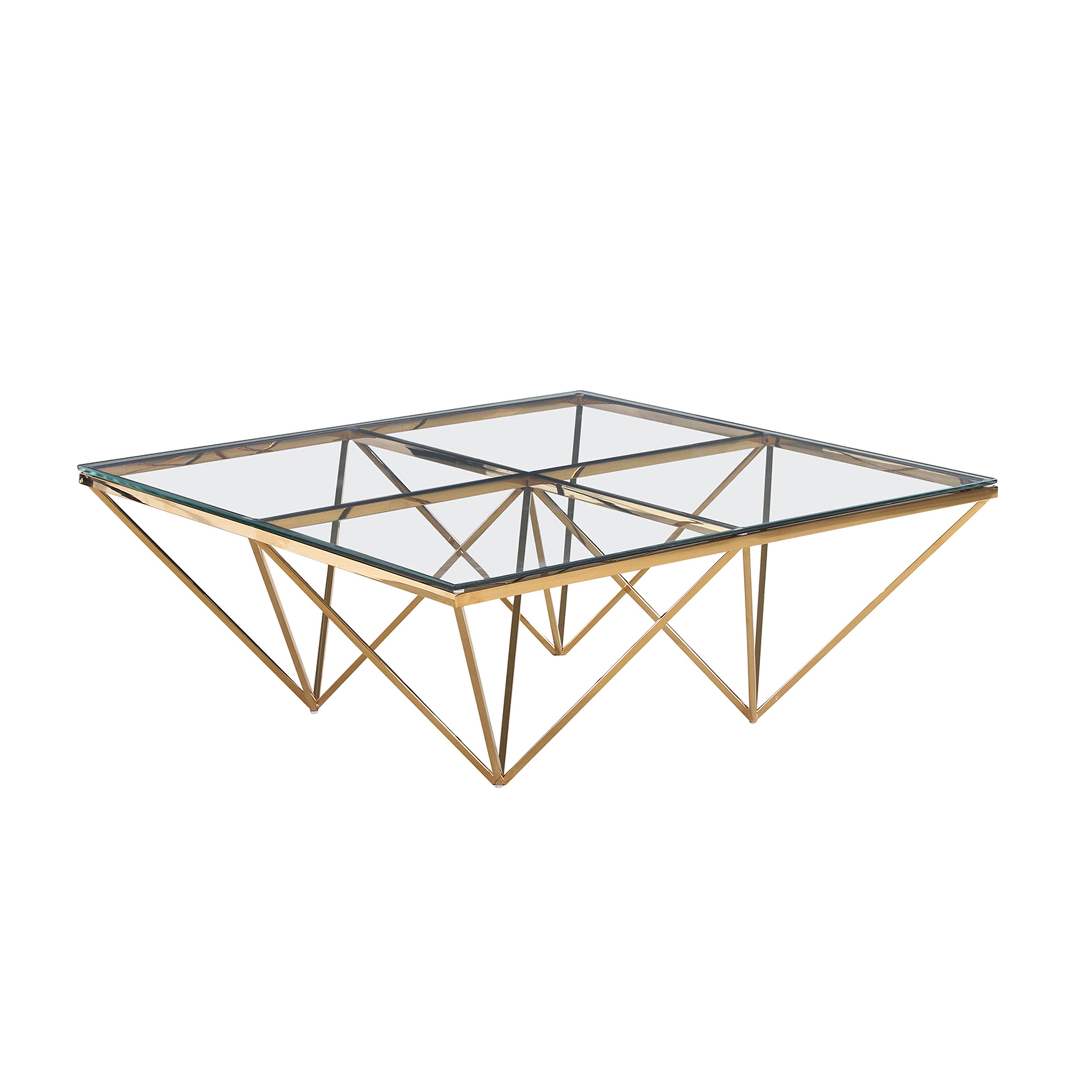 GOLD DIAMOND LEG COCKTAIL TABLE, GLASS