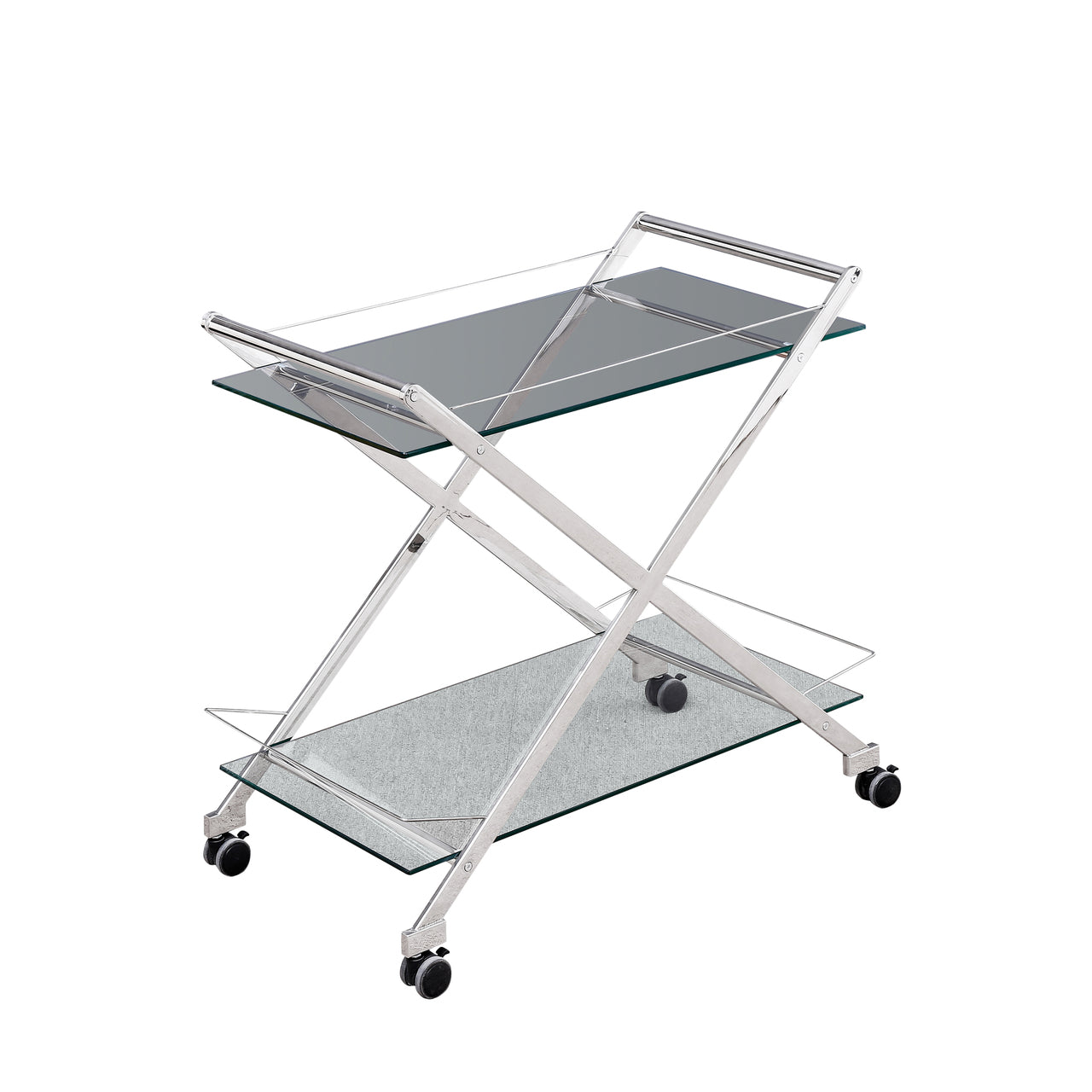 "TWO TIER 31"" ROLLING BAR CART, SILVER - Casa Muebles"
