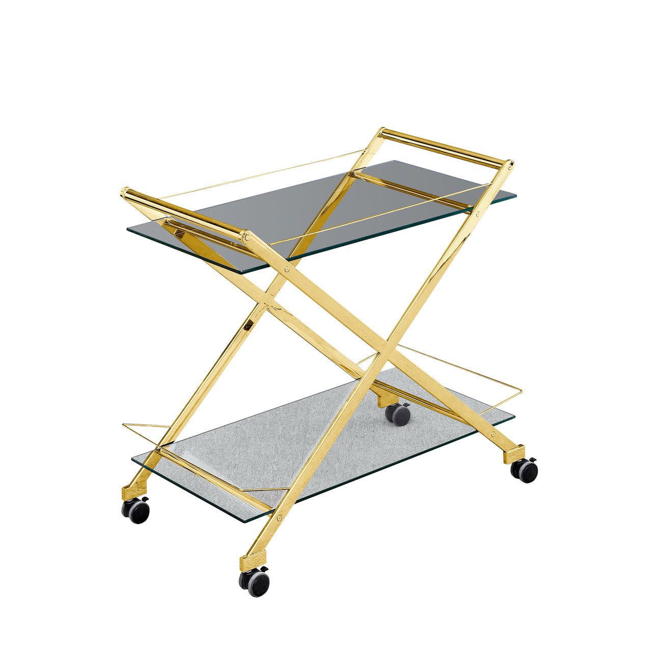 "TWO TIER 31"" ROLLING BAR CART, GOLD - Casa Muebles"