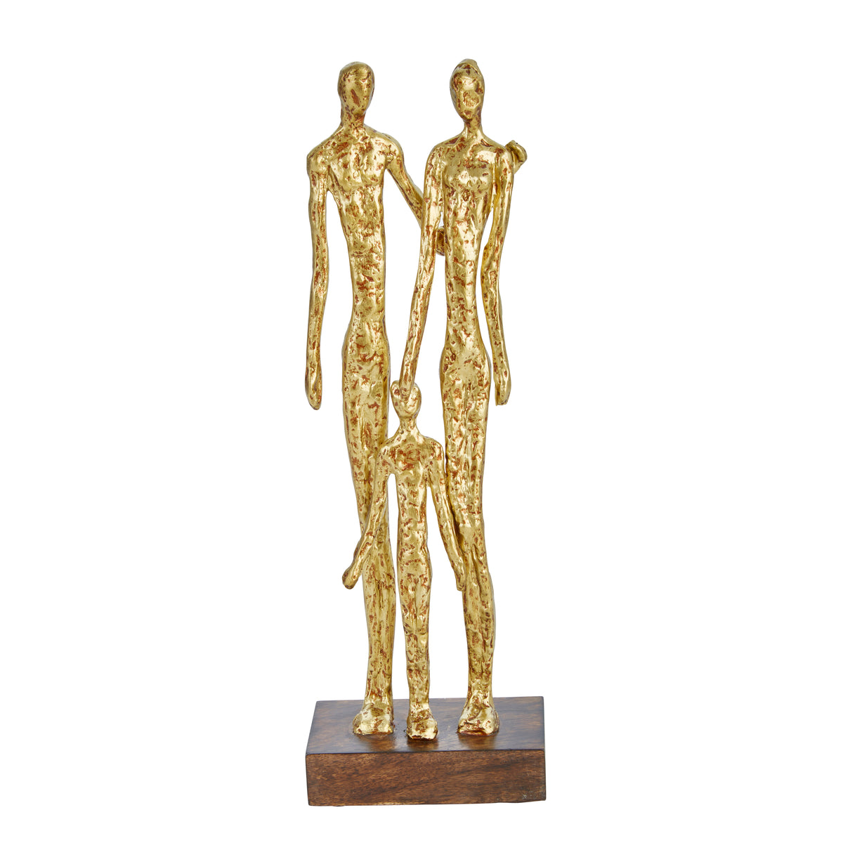 "Resin 16.5"" Family Figurine, Gold - Casa Muebles"