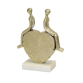 Aluminum 13'' Couple Sitting On Heart, Gold - Casa Muebles