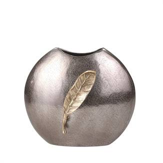 Aluminum 14'' Round Vase With Gold Leaf, Bronze - Casa Muebles