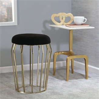 "Metal 22"" Gold Stool, Black Cushion - Casa Muebles"