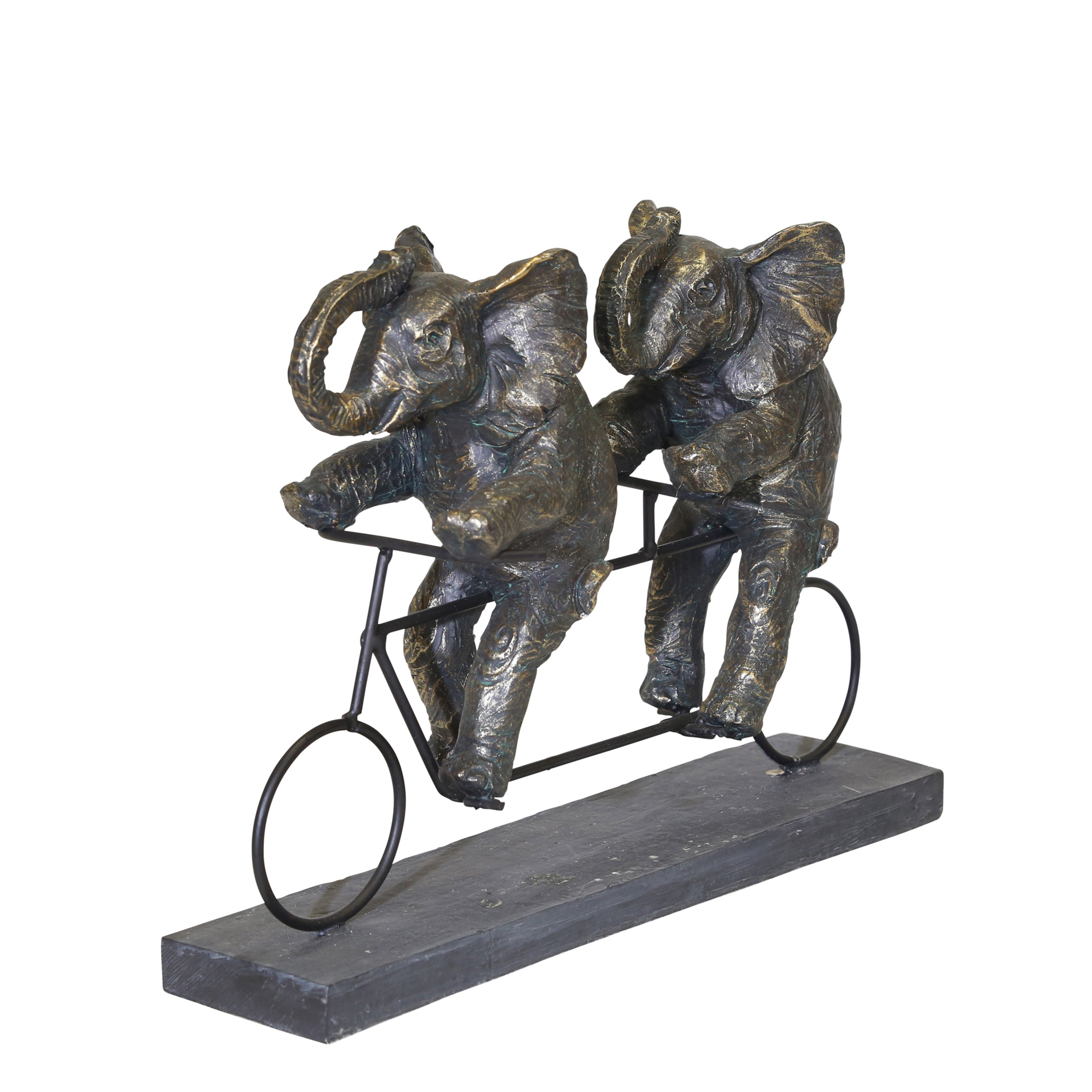 "POLYRESIN 14""L ELEPHANTS ON TANDEM BIKE, BRONZE"