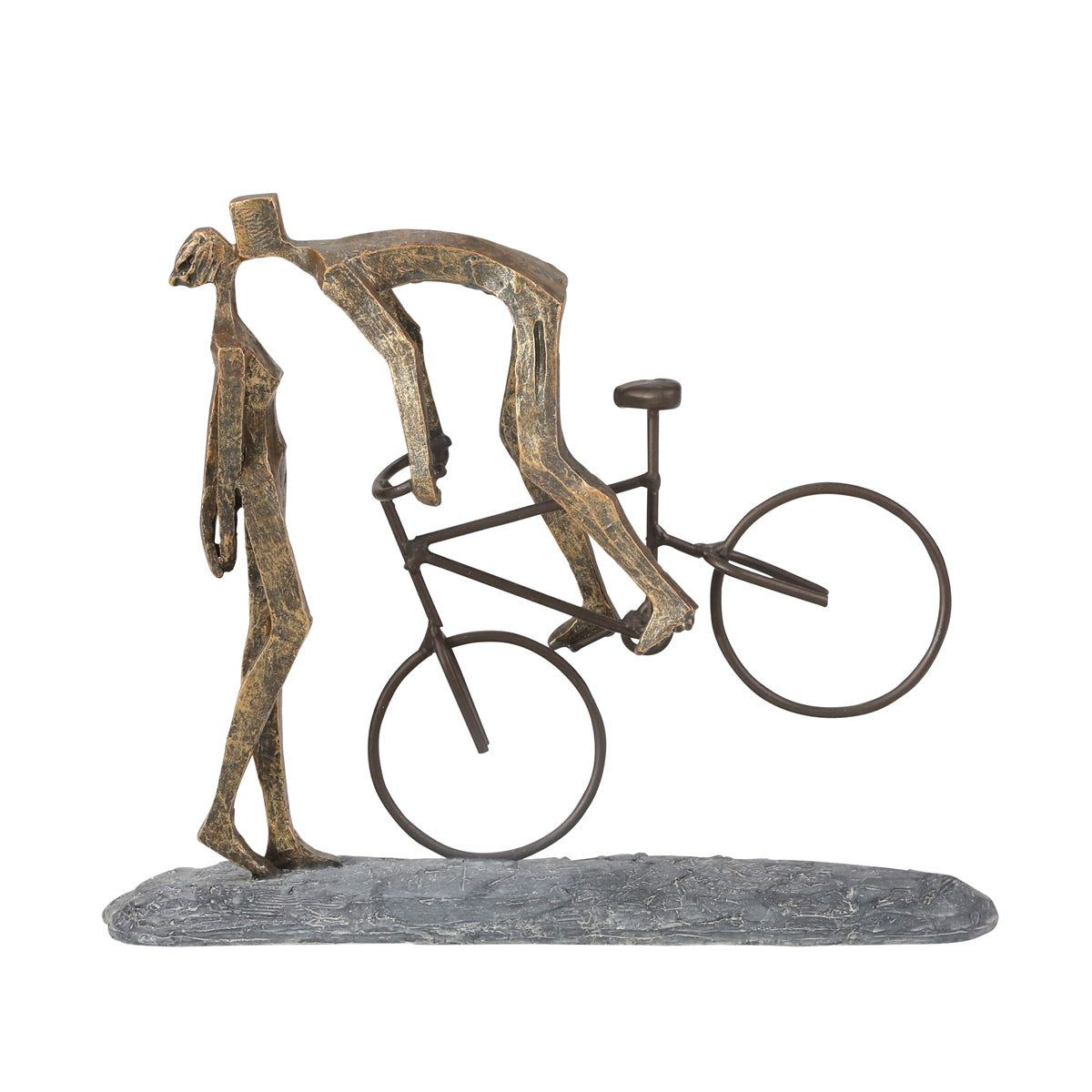 "Polyresin 11.5"" Kissing Couple With Bike, Bronze - Casa Muebles"
