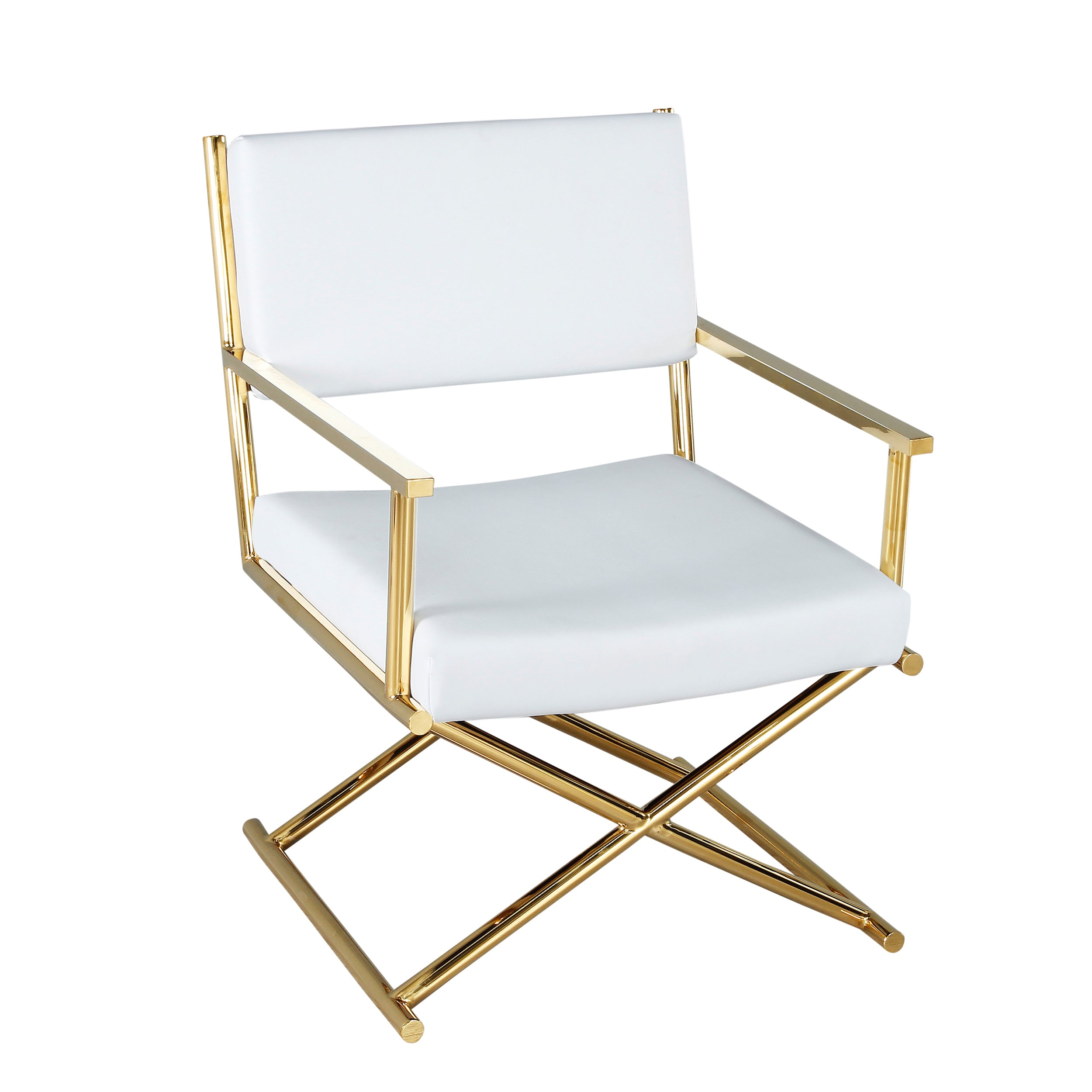 METAL DIRECTOR'S CHAIR IN PU,WHITE/GOLD