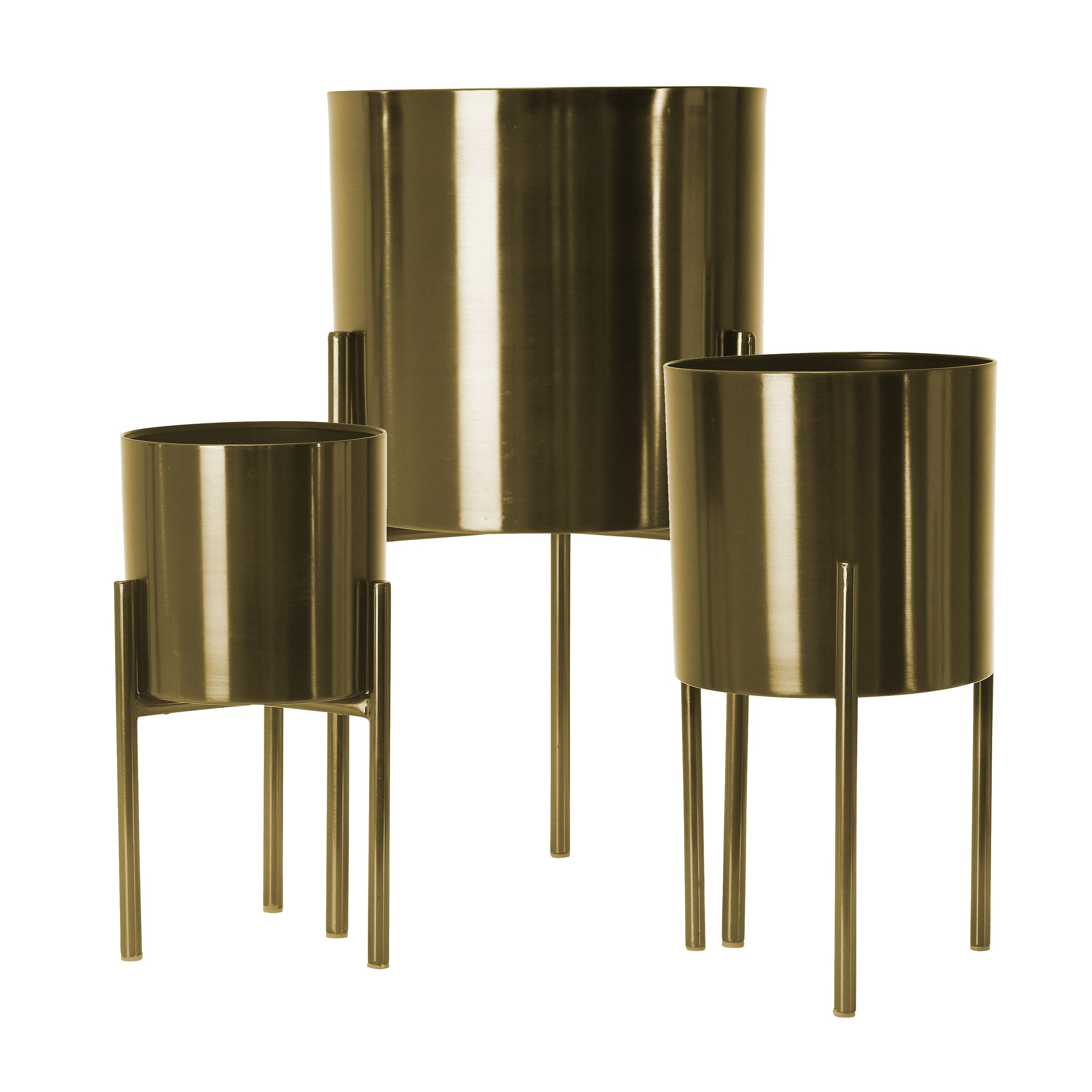 Set de 3 METAL PLANTERS ON STAND, GOLD