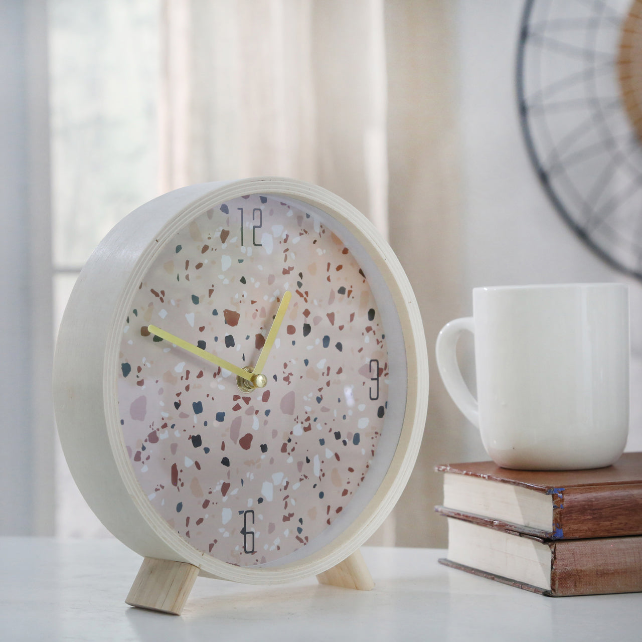 "WOOD 8"" TERRAZZO TABLE CLOCK,PINK - Casa Muebles"