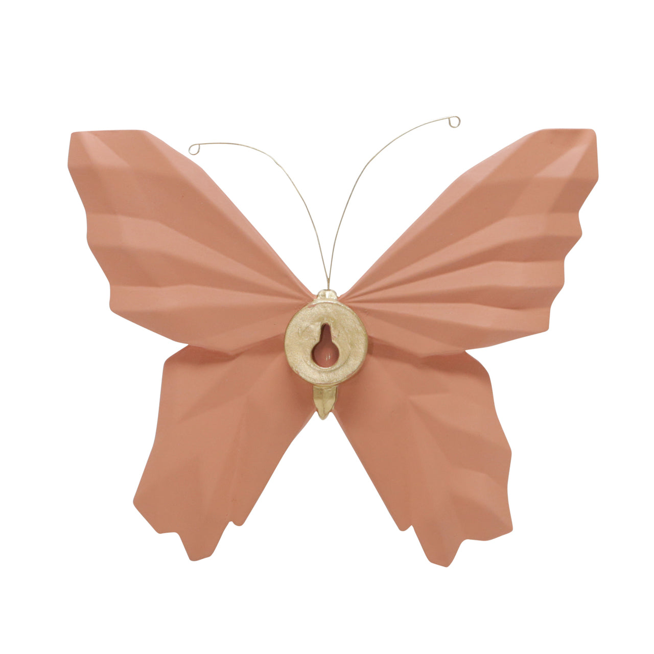 "RESIN 8"" W ORIGAMI BUTTERFLY WALL DECOR, SALMON - Casa Muebles"