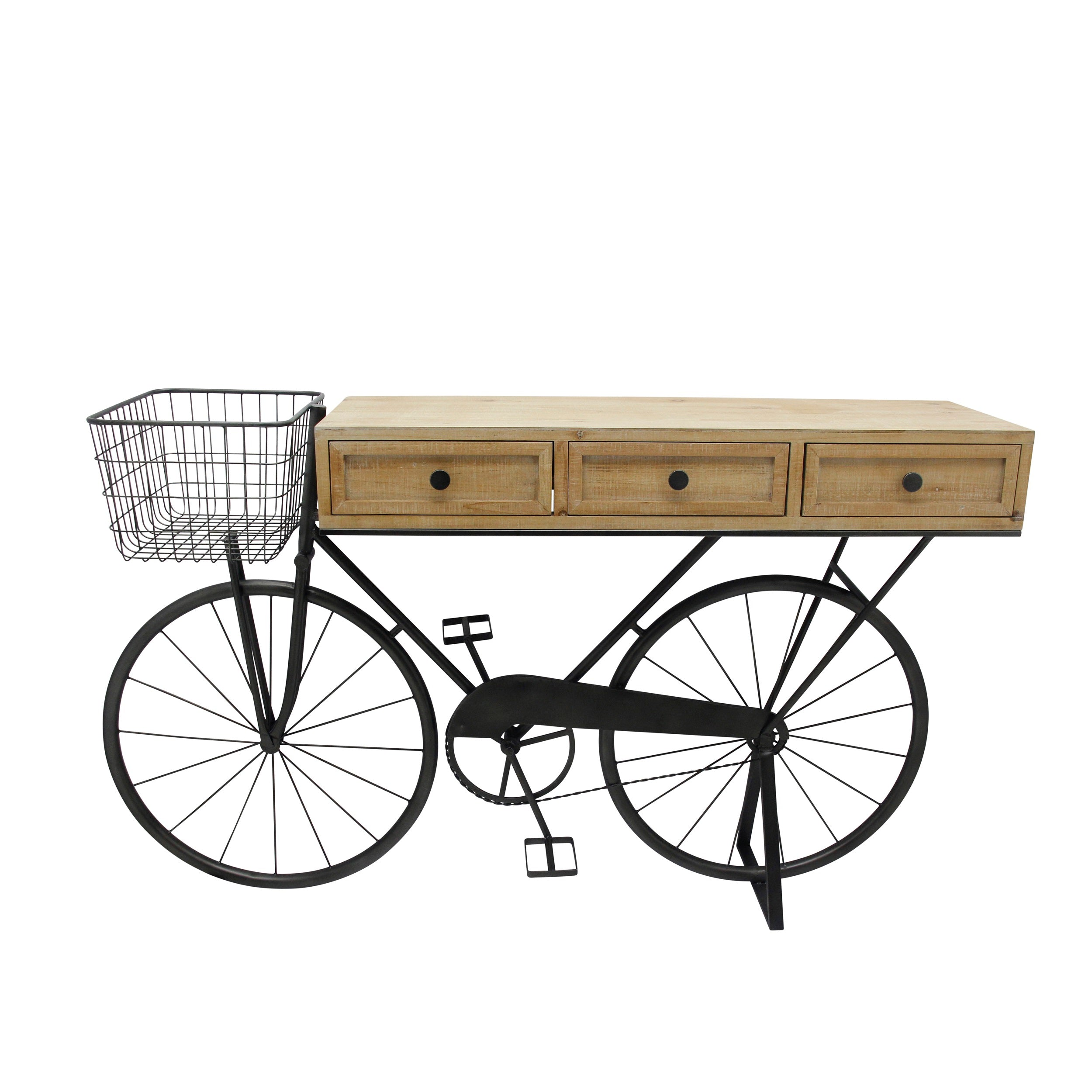 "IRON/WOOD 34"" BICYCLE CONSOLE W/ DRAWERS, BROWN"