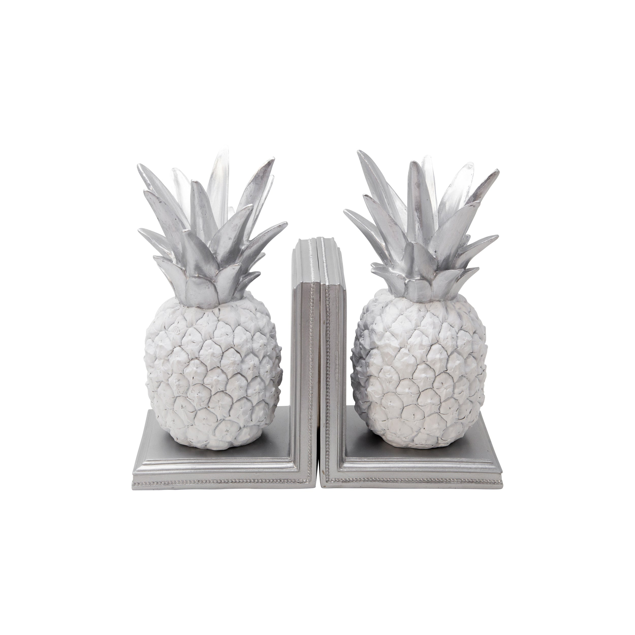 "Set de 2 POLYRESIN 10""H PINEAPPLE BOOKENDS WHITE/SILVER"