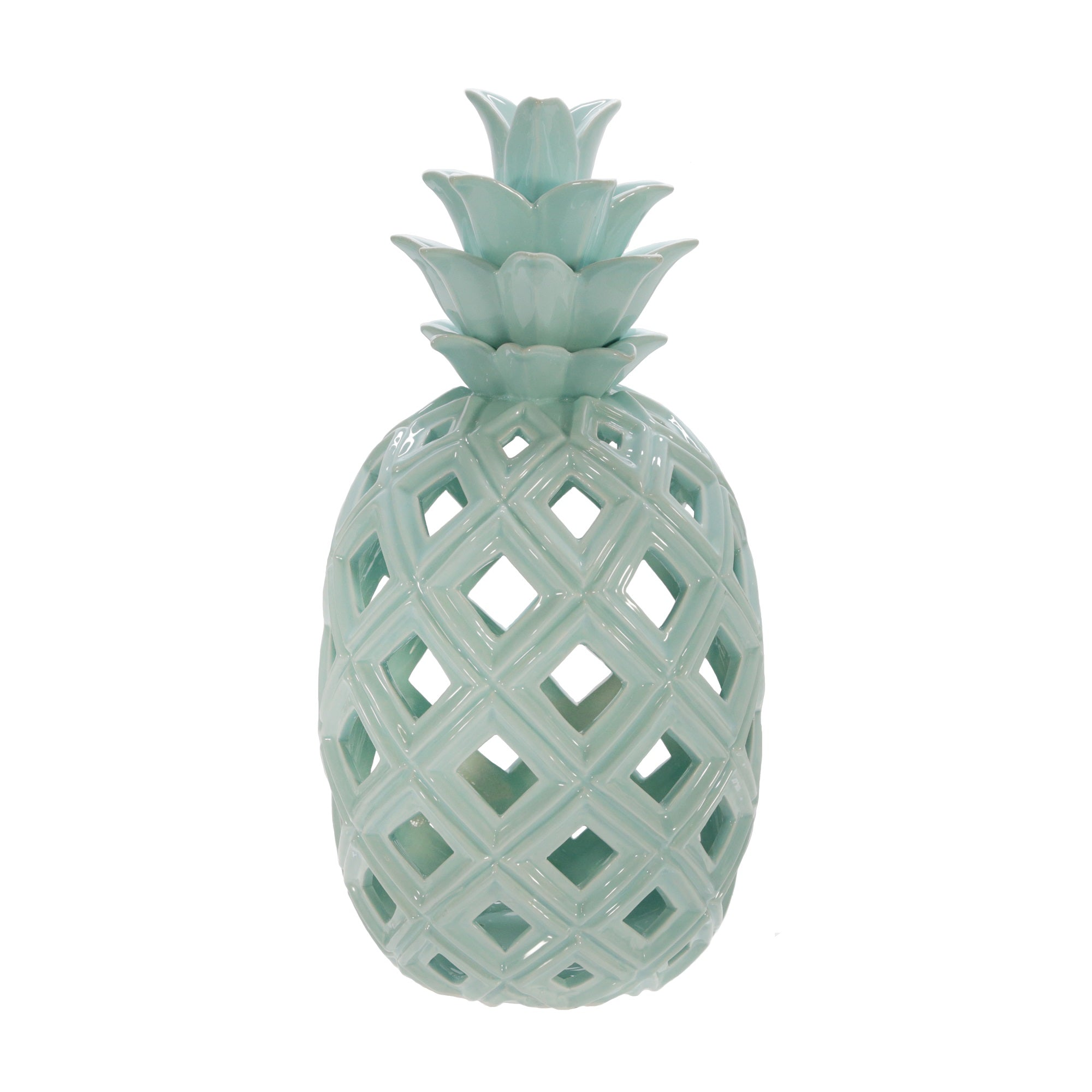"CERAMIC 16""H PINEAPPLE DECOR, GREEN"