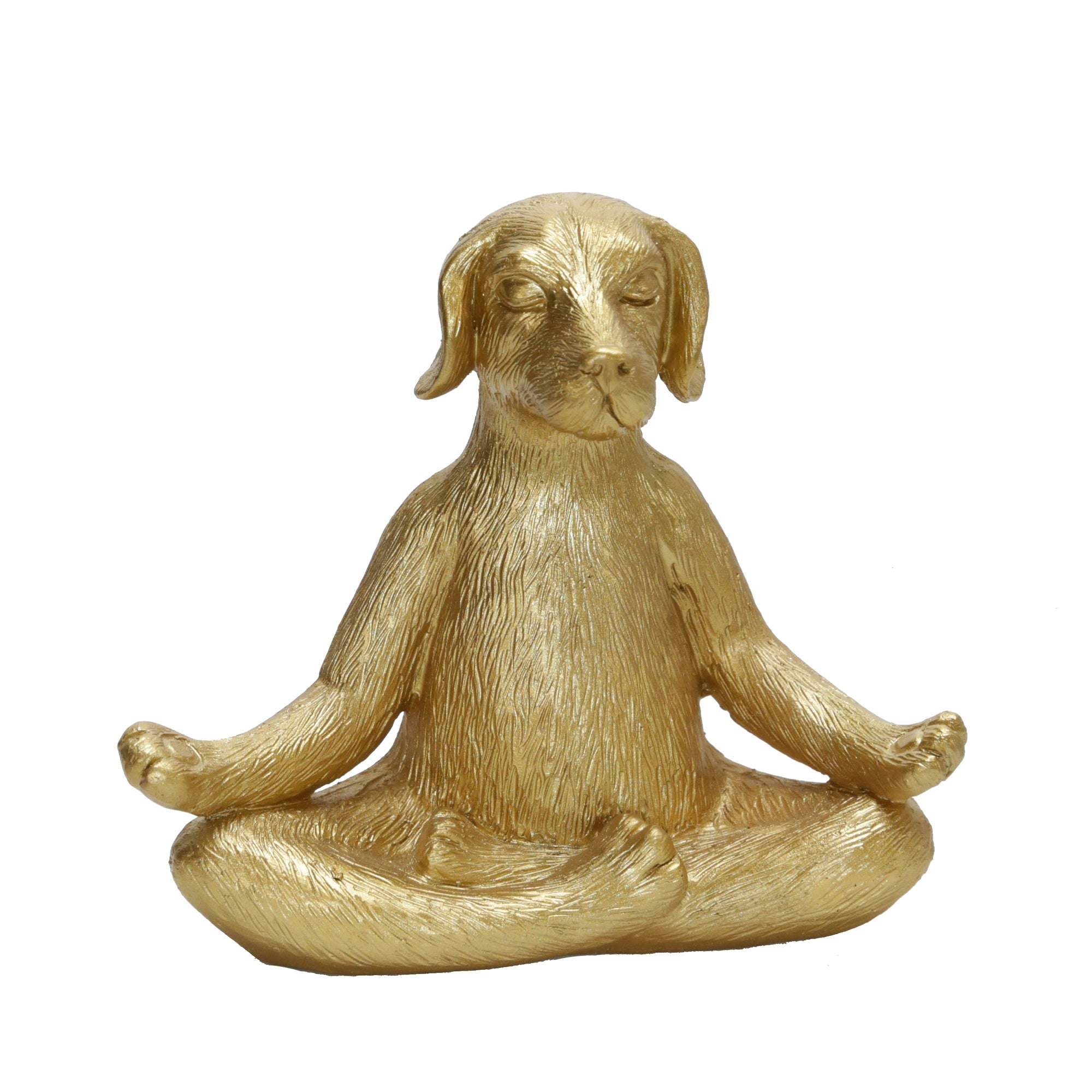 "POLYRESIN 7""YOGA DOG, GOLD"