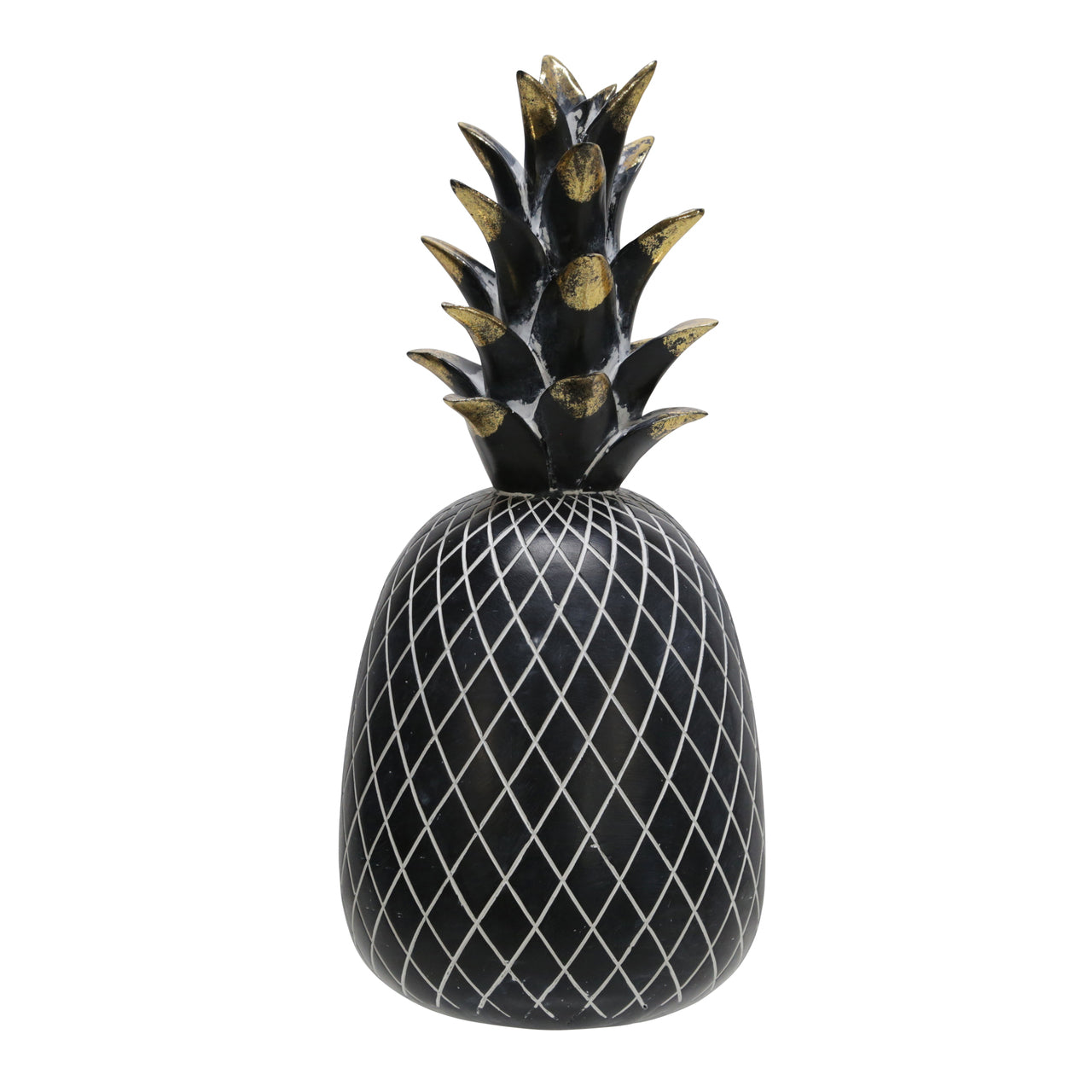 "POLYRESIN 12"" PINEAPPLE DECOR, BLACK/GOLD - Casa Muebles"