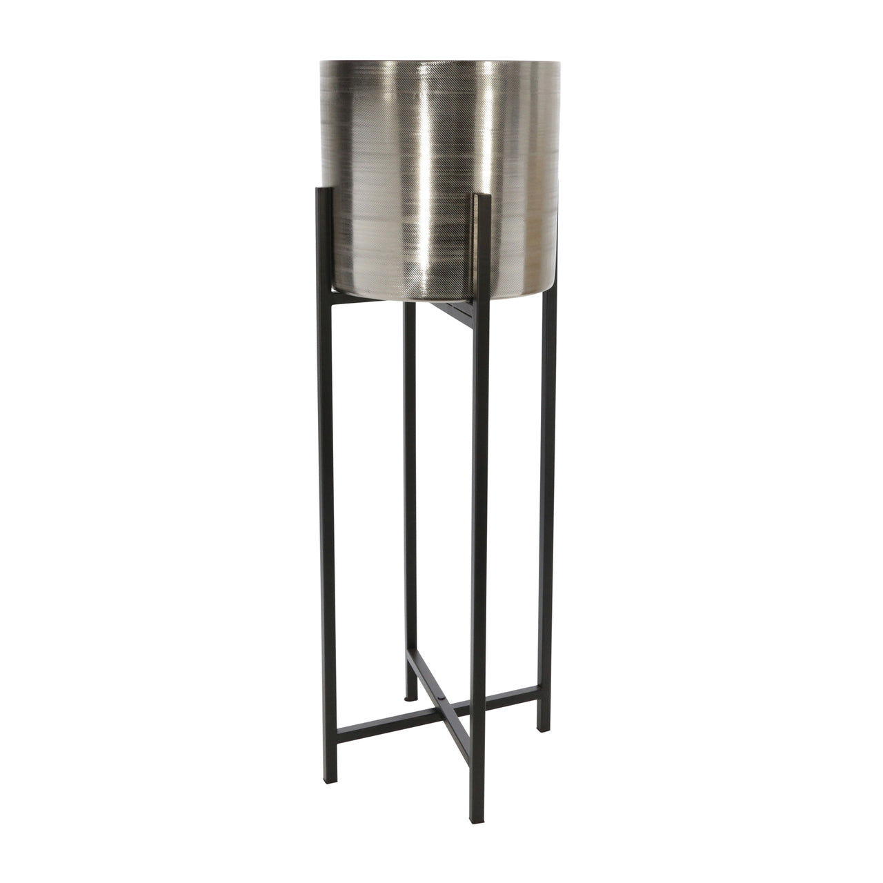"Set de 2 METAL 38/47"" METAL PLANTER ON STAND, SILVER/BL - Casa Muebles"