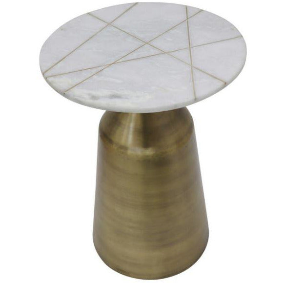 "METAL / MARBLE 24""ROUND SIDE TABLE - Casa Muebles"