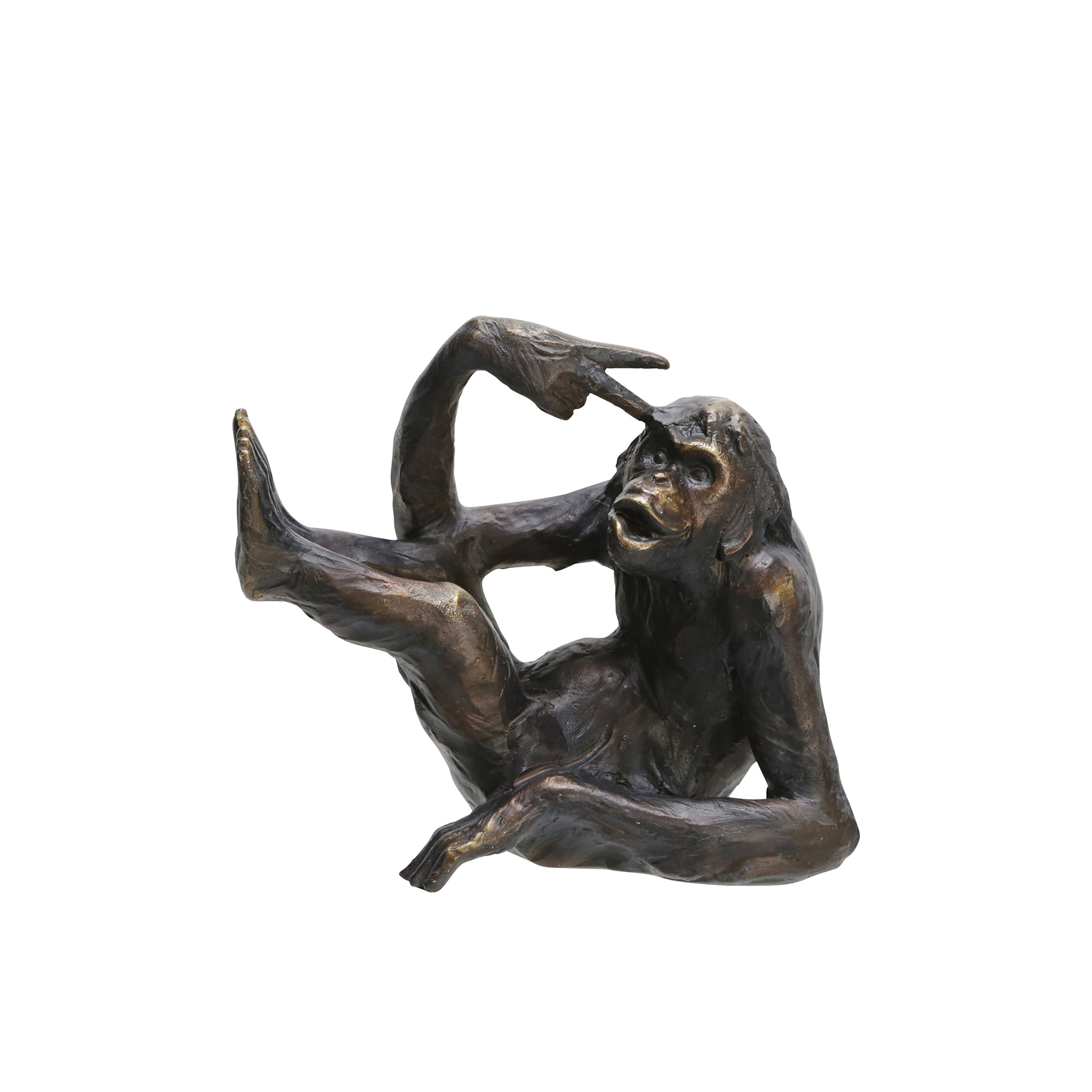 "Set de 2 17"" MONKEY BOOKENDS, BRONZE"