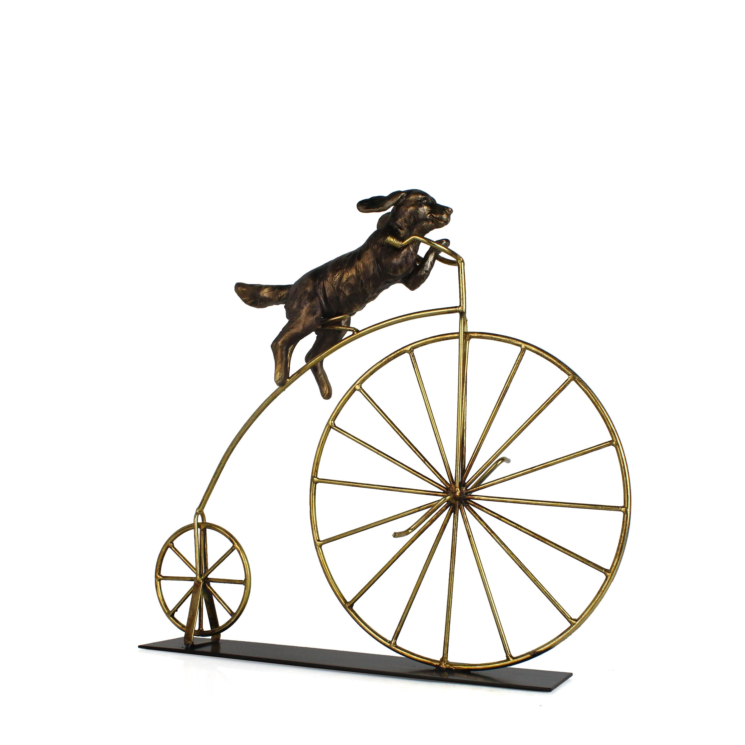 "METAL 18""H DOG ON BICYCLE DECOR, GOLD"