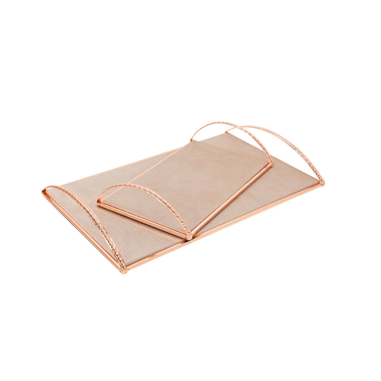"Set / 2 METAL 13/19"" TRAY W/ HANDLES, ROSE GOLD - Casa Muebles"
