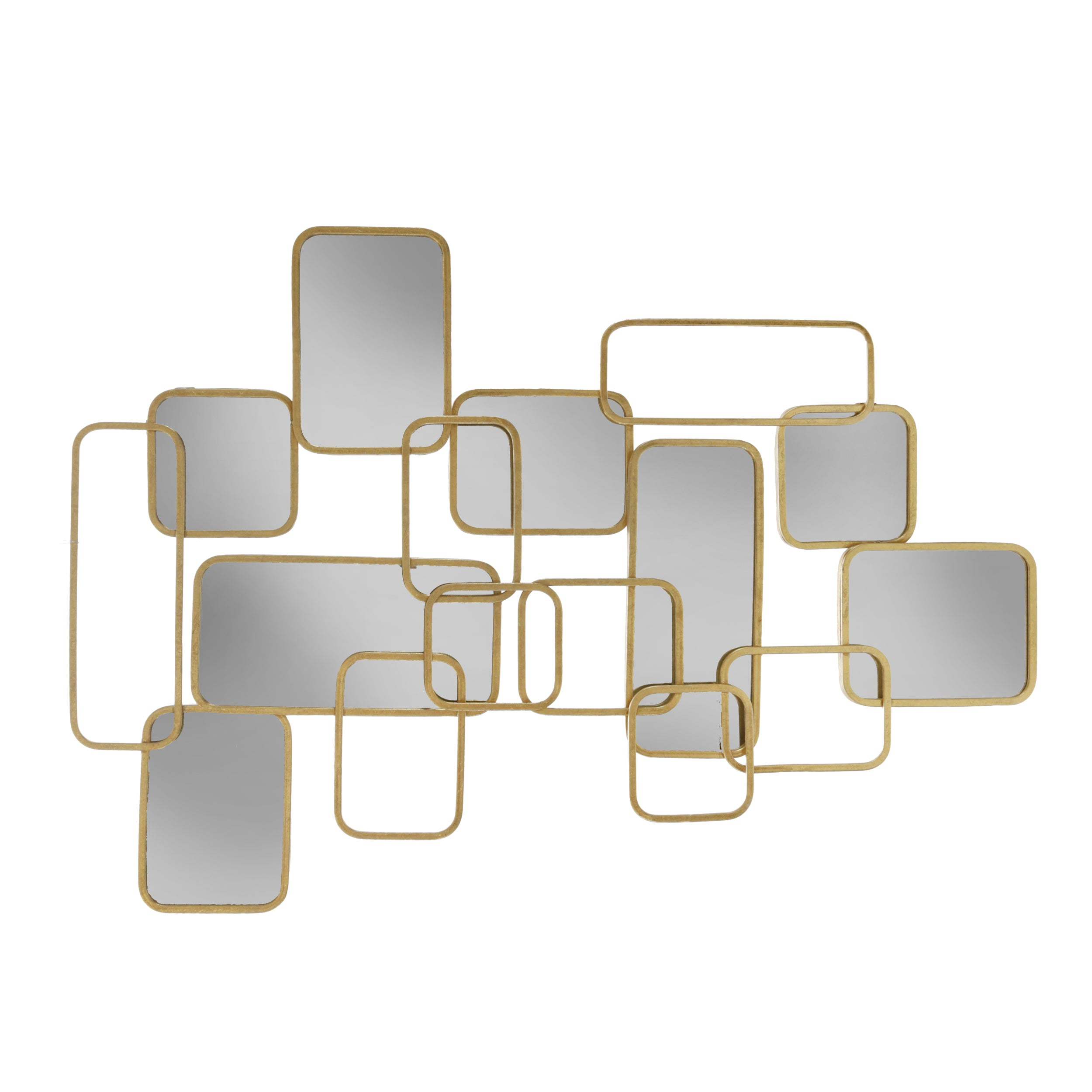 "METAL 39"" ABSTRACT MIRRORED WALL DECOR, GOLD"