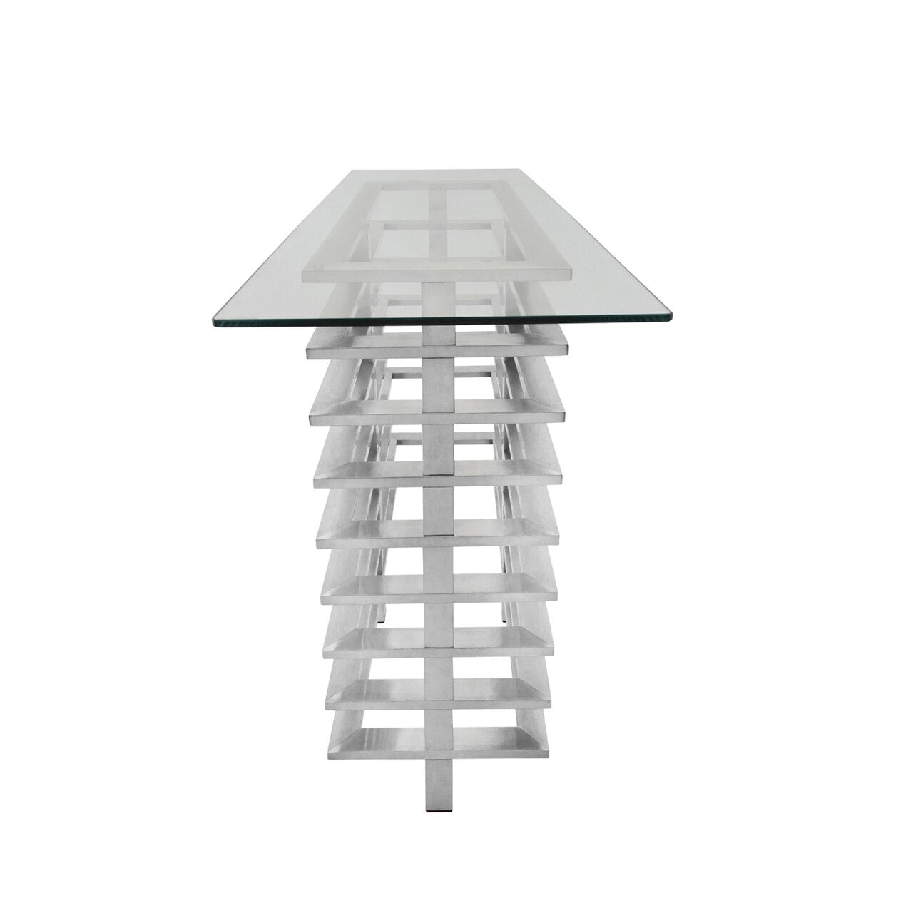 METAL STACKED CONSOLE TABLE, SILVER - MATERIAL STAINLESS STEEL