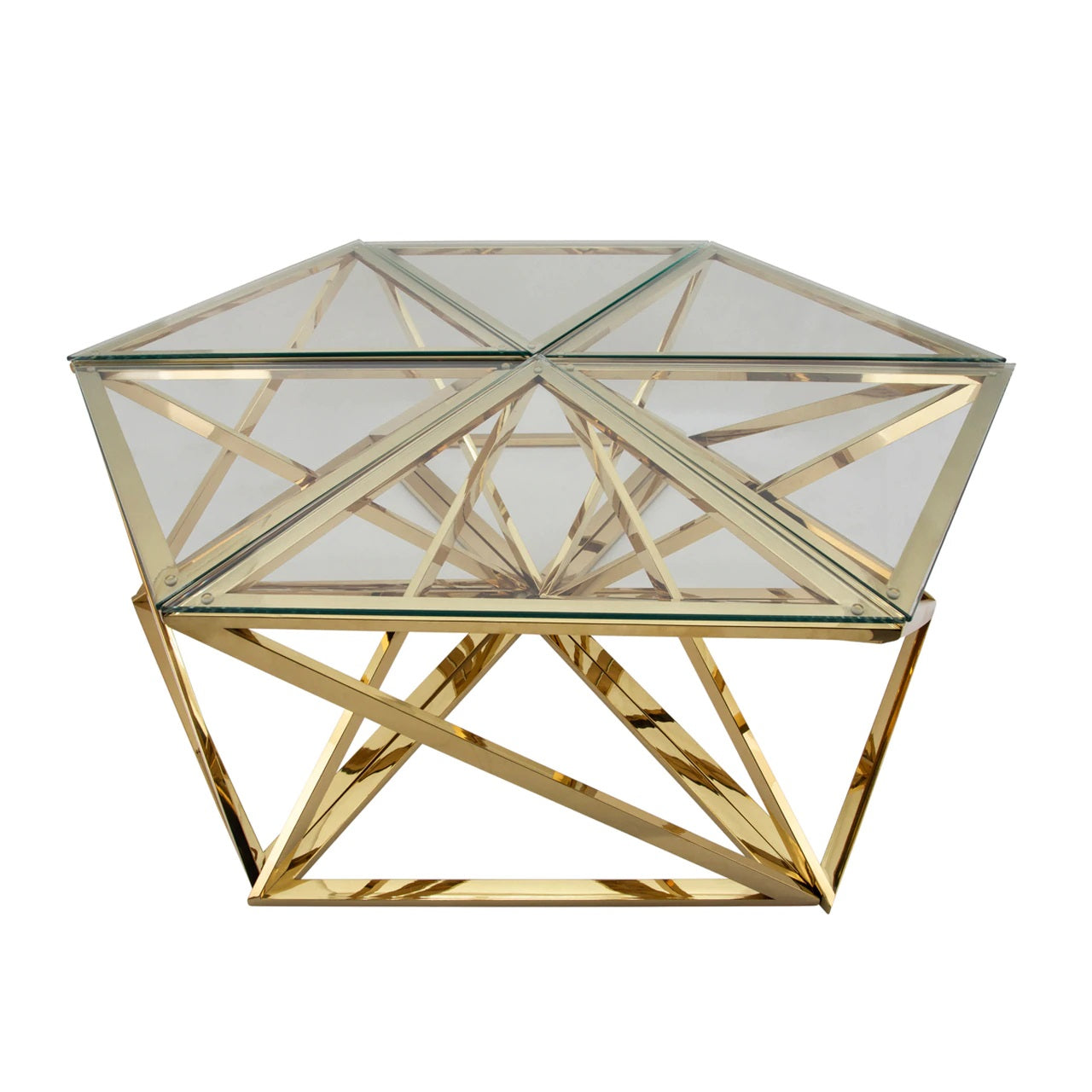 METAL HEXAGON COFFEE TABLE, GOLD 100% STAINLESS STEEL