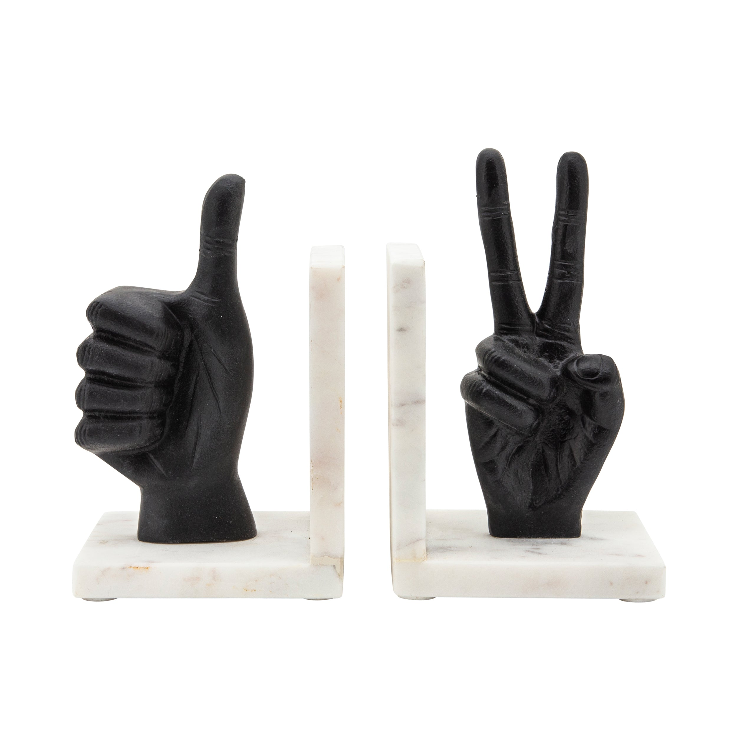 Set de 2 HAND SIGN BOOKENDS, BLACK
