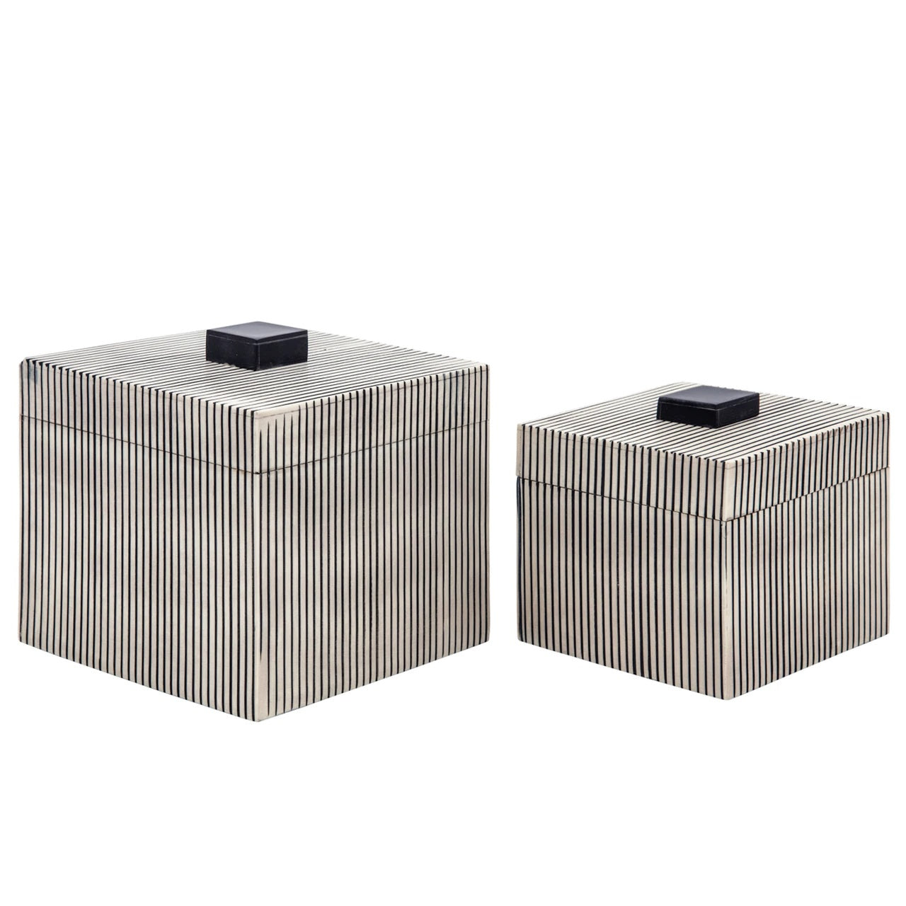 SET DE 2 RIBBED BOXES W/ LID