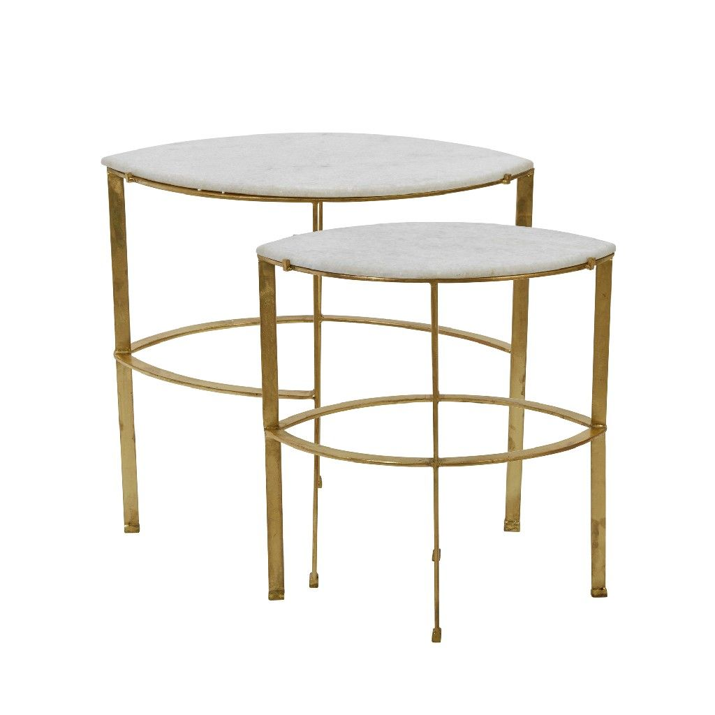 Set de 2 Iron leaf Design Nesting Table - Casa Muebles