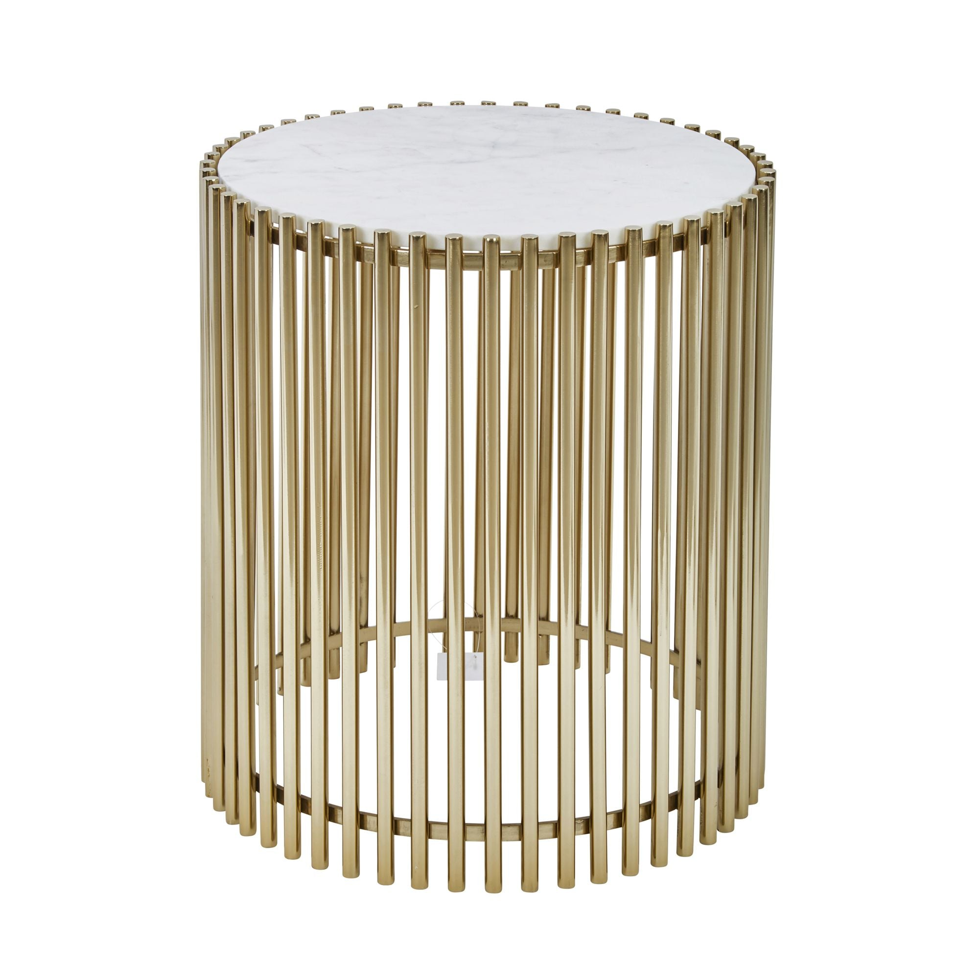 "Steel and Marble 20"" Accent Table, Gold and White - Casa Muebles"