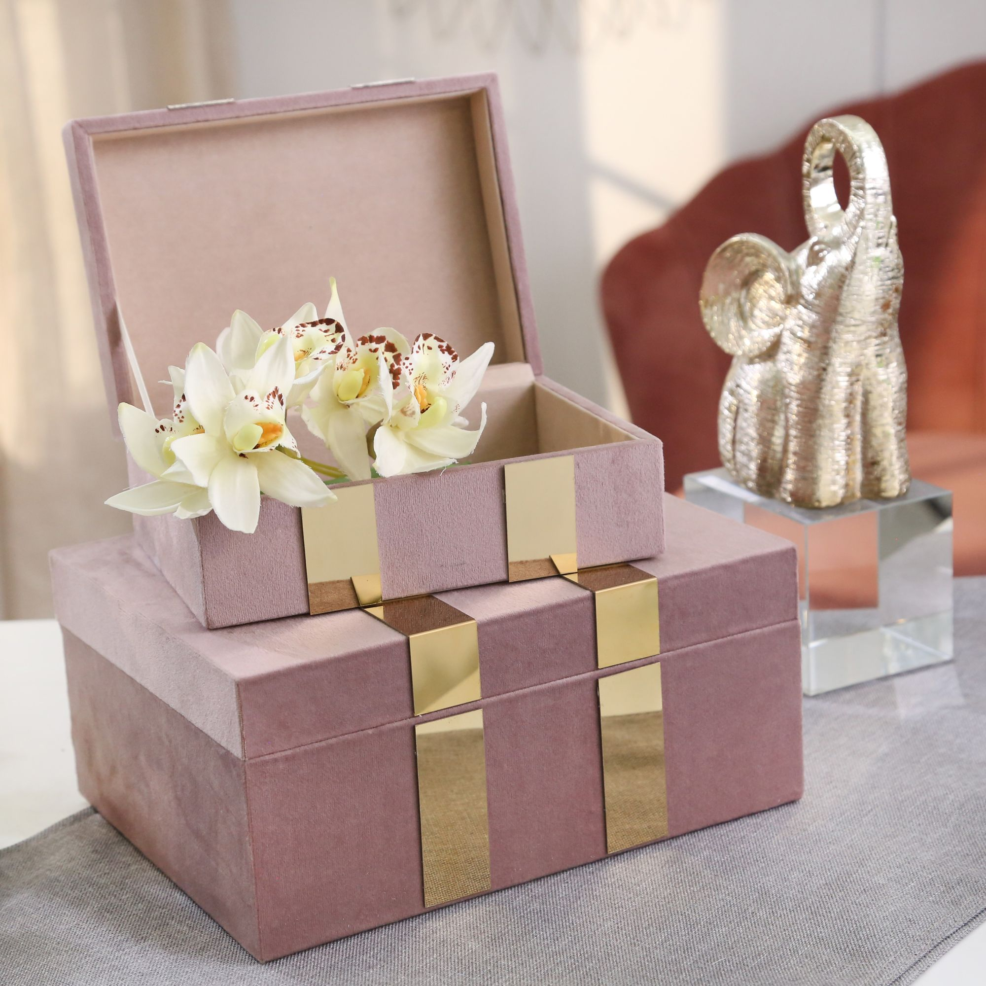 Set de 2 Velveteen Jewerly Box, Blush / Gold