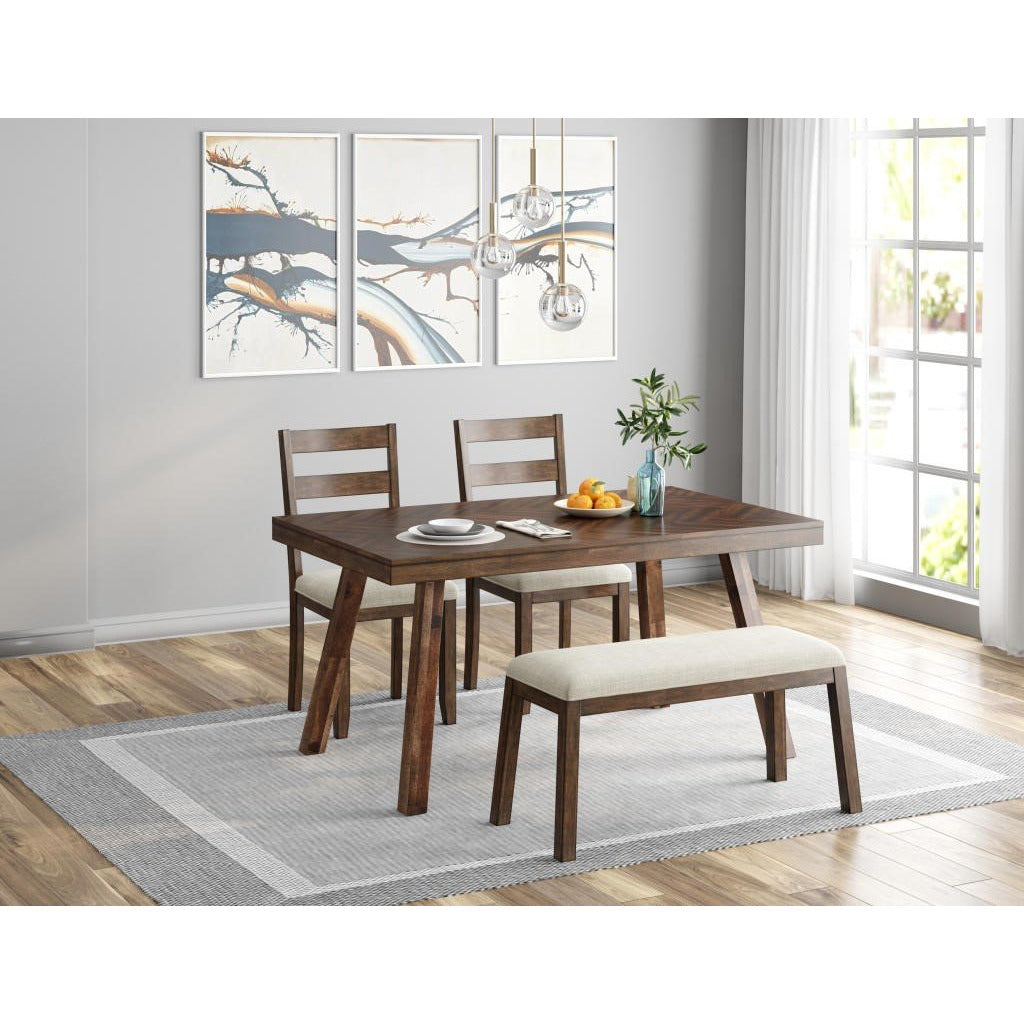 Ready To Live Caswell Dark Brown Dining Room Table with Bench