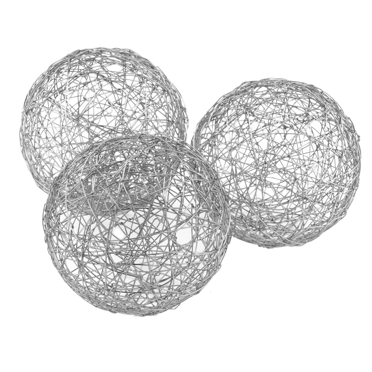 "Guita Silver Wire Spheres / 5"" D - Box of 3 - Casa Muebles"