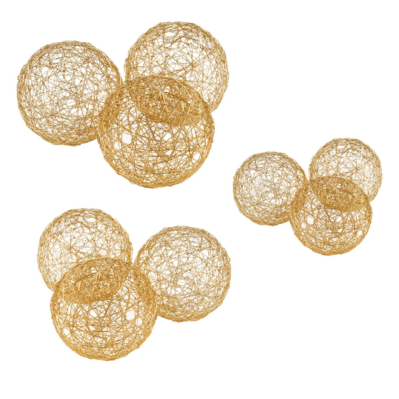 "Guita Gold Wire Spheres / 5""D - Box of 3 - Casa Muebles"
