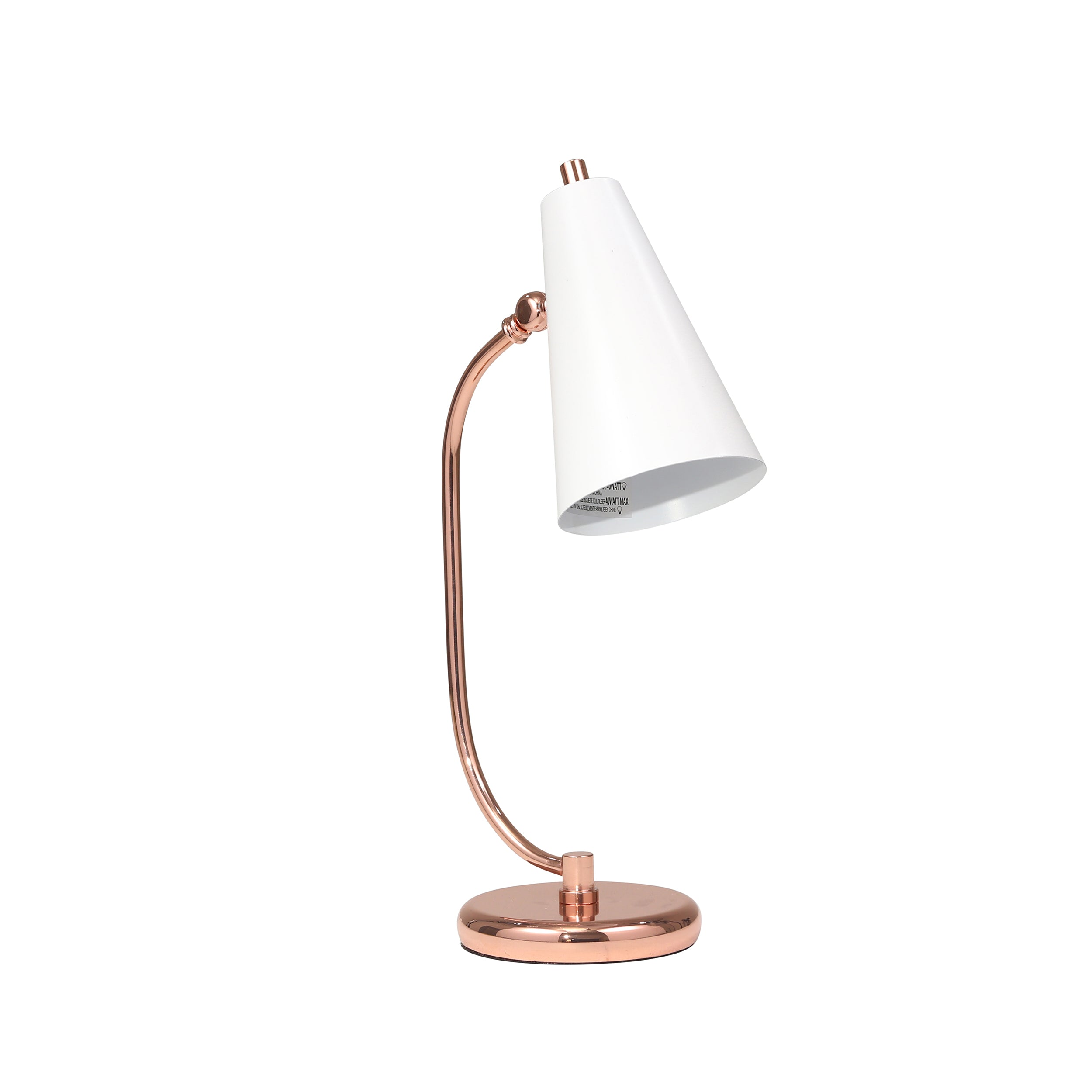 "METAL 20"" DESK LAMP, WHITE/ROSEGOLD - Casa Muebles"
