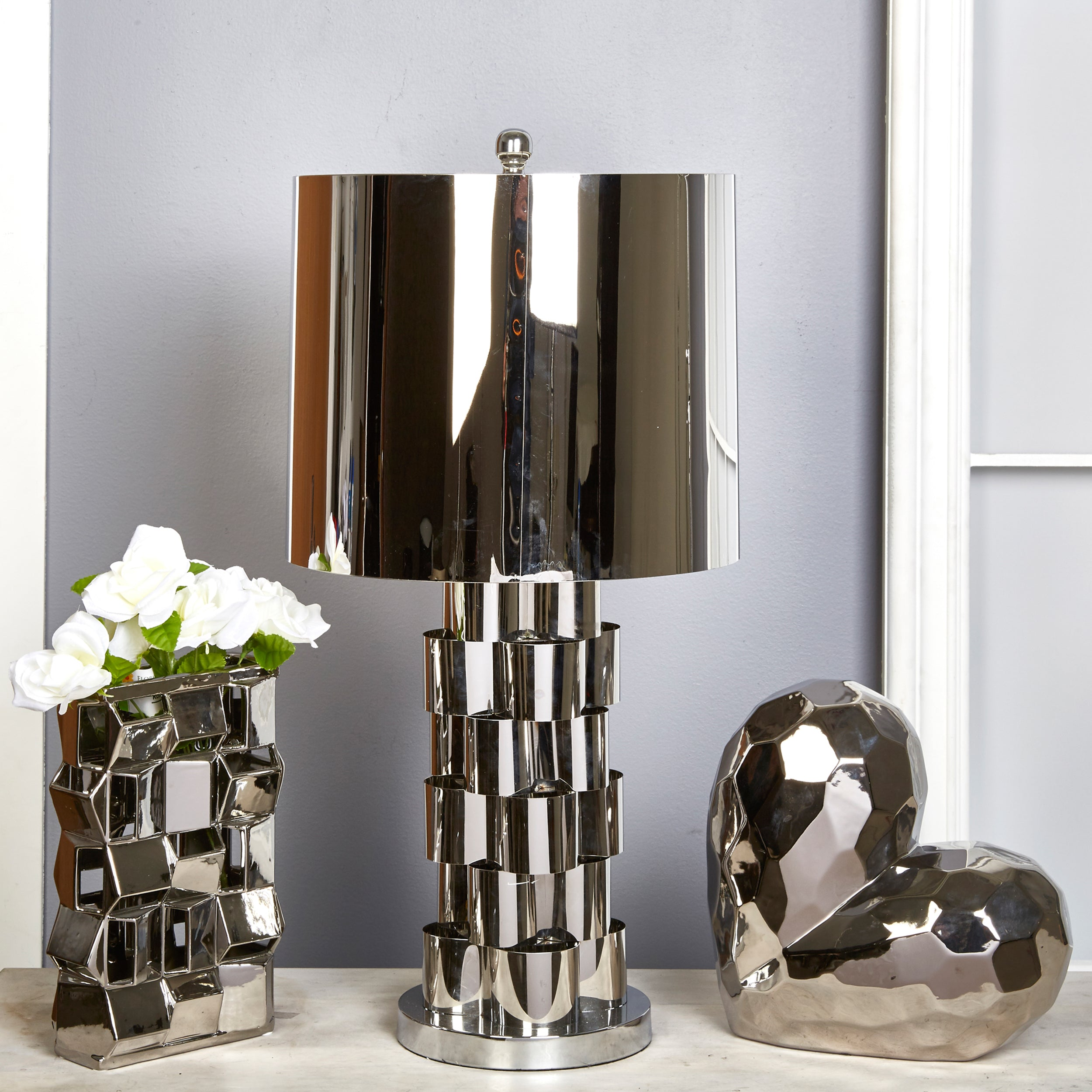 "METAL 30"" ABSTRACT TABLE LAMP,SILVER"