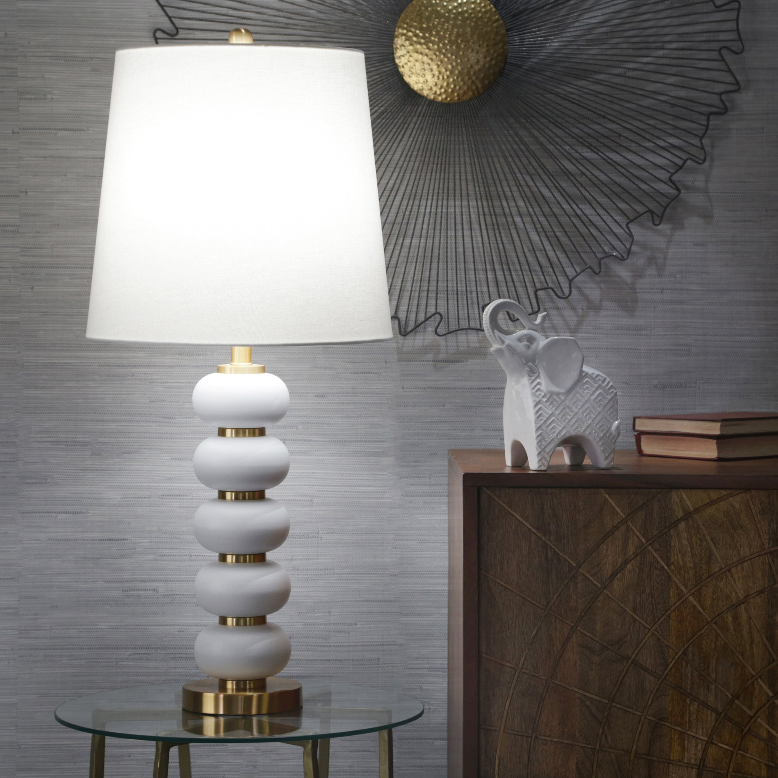"METAL 34"" STACKED BALL TABLE LAMP, WHITE/GOLD"