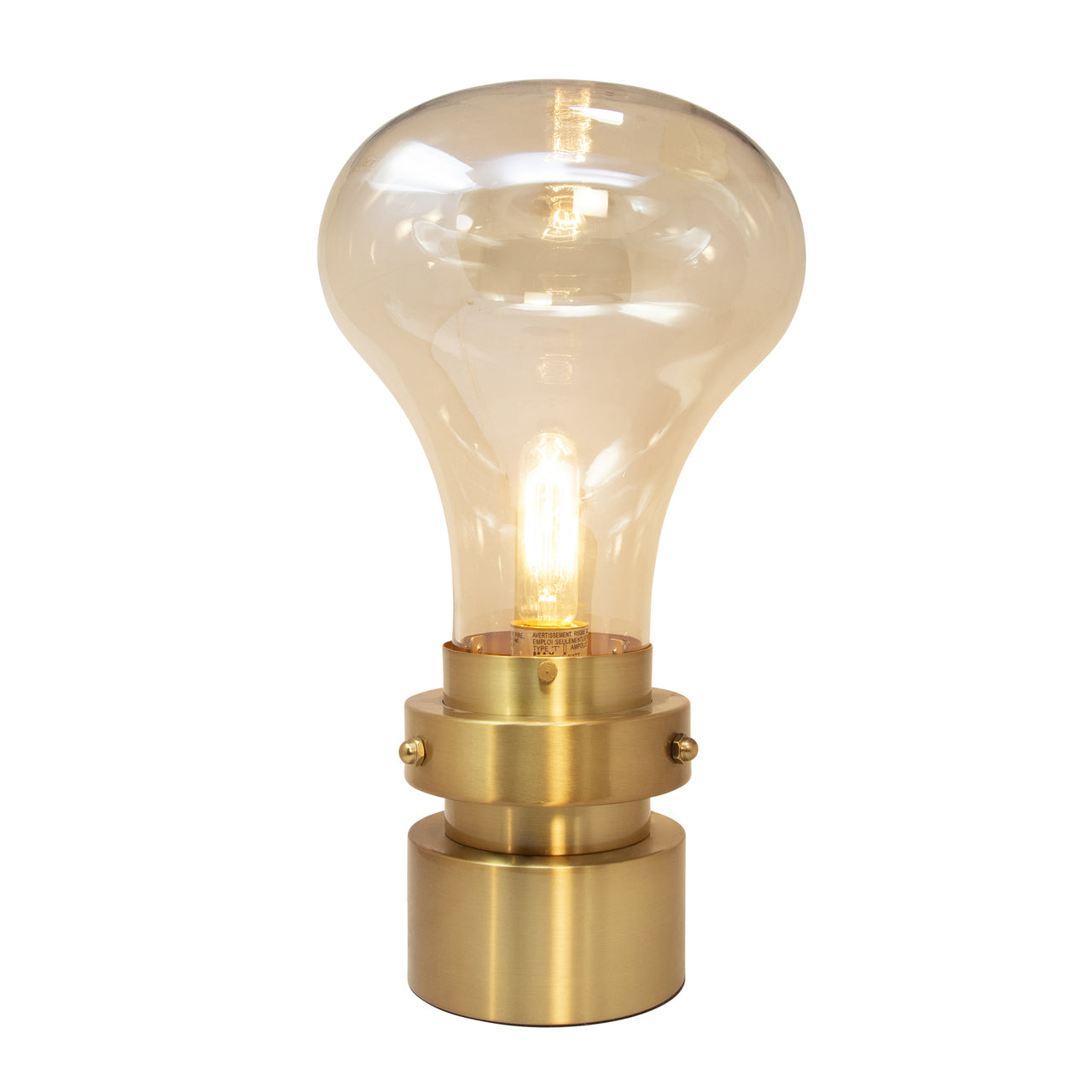 "GLASS 18"" LIGHT BULB TABLE LAMP, GOLD - Casa Muebles"