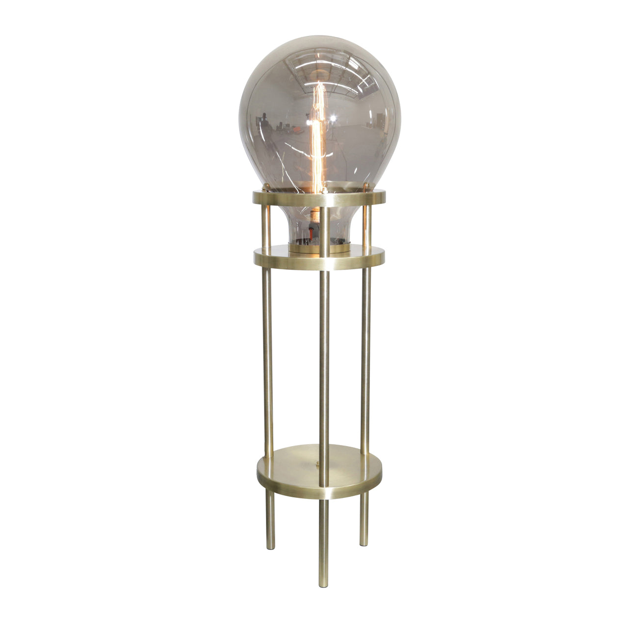 "METAL / GLASS 40"" BULB FLOOR LAMP, BLACK/GOLD-KD - Casa Muebles"
