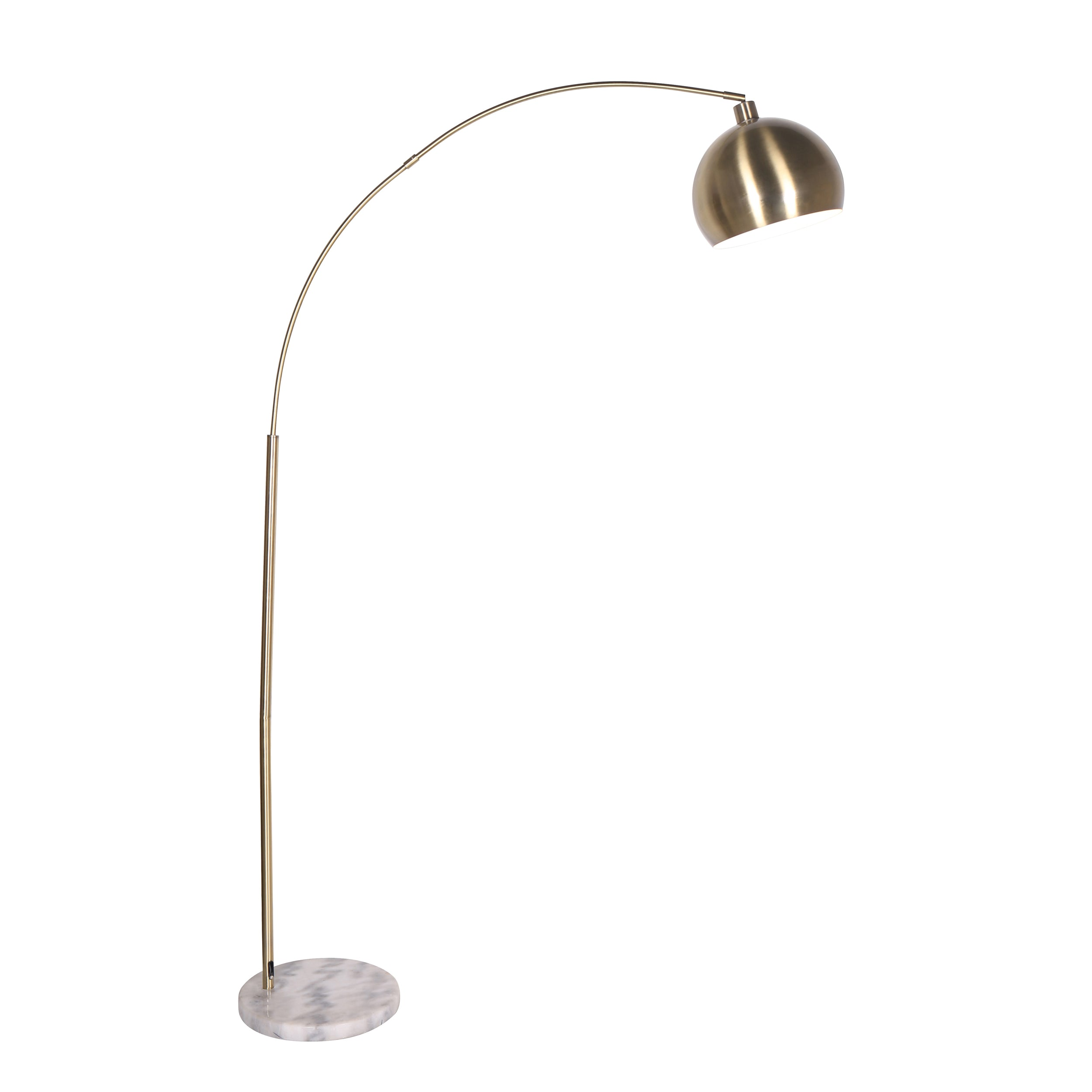 "METAL/MARBLE 77"" DOME SHADE FLOOR LAMP, GOLD-KD"