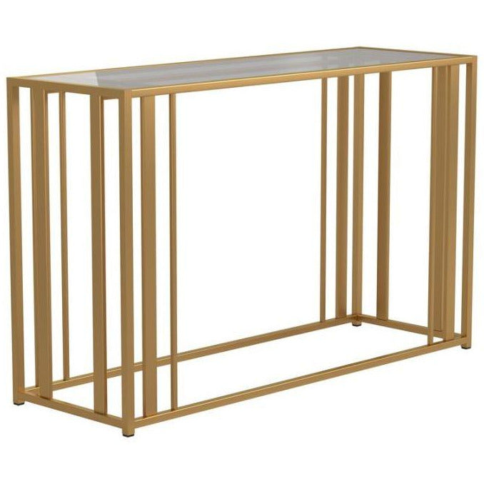 SOFA TABLE MATTE BRASS - Casa Muebles