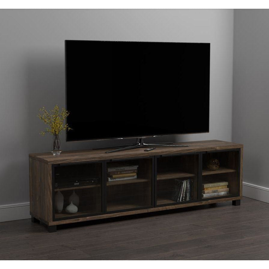 "71"" TV CONSOLE, AGED WALNUT"