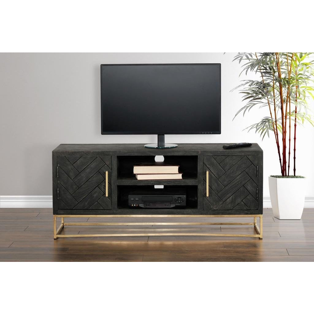 Rustic TV Console In Mango Wood With Metal Base - Casa Muebles