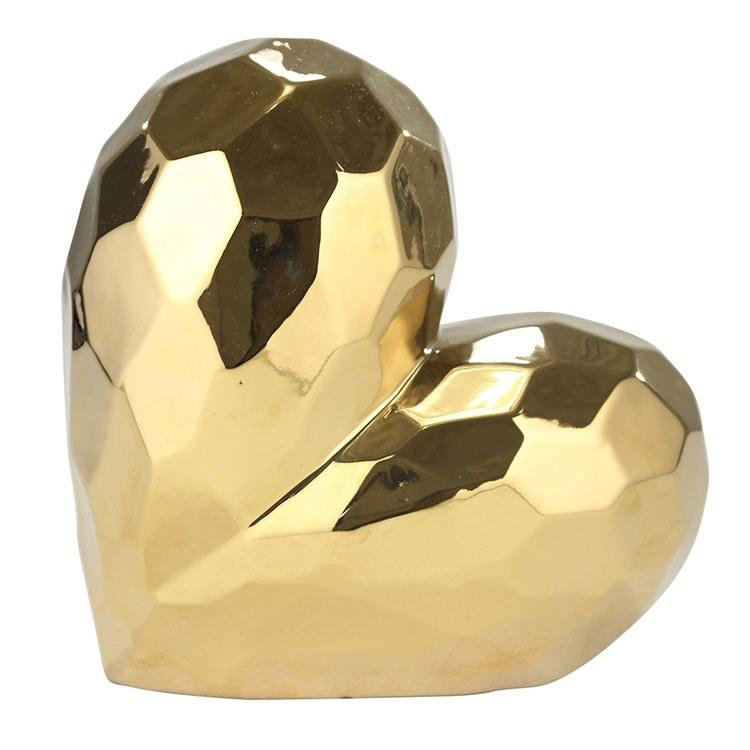 "11.5"" Gold Ceramic Heart - Casa Muebles"