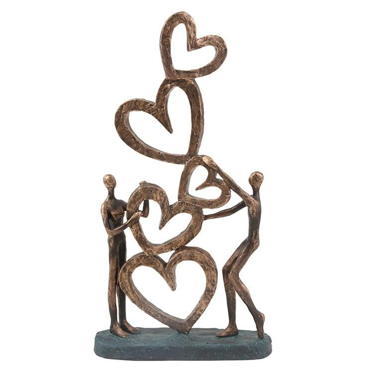 Sculpture Couple with Hearts 9 x 2.75 x 16.5 Inch Bronze Polyresin - Casa Muebles